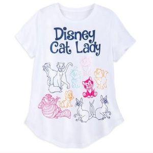 Disney Cat Lady Rainbow White T-Shirt size Large